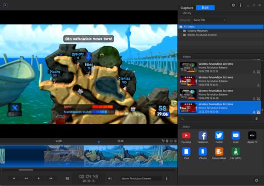 Tryb edycji w aplikacji Game Capture HD od Elgato