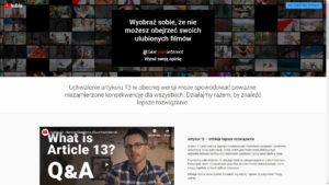 Podstrona YouTube dotycząca akcji #saveyourinternet