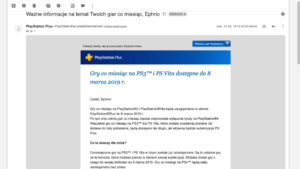 E-mail o końcu gier w PlayStation Plus na PlayStation 3 i PlayStation Vita