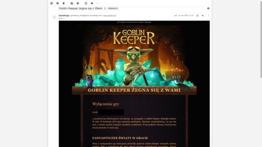 E-mail o wyłączeniu gry Goblin Keeper