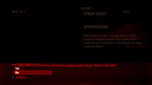 Ekran informujący o braku możliwości przetworzenia wyniku dla gry Killzone 3