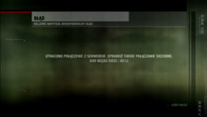 Ekran informujący o utraconym połączeniu z serwerem dla gry Killzone 2