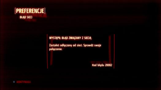 Ekran informujący o utraconym połączeniu z serwerem dla gry Killzone 3