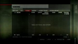 Pusta tabela rankingowa dla danego tygodnia w grze Killzone 2