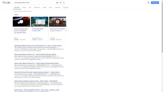 """Wyniki wyszukiwania w Google po wpisania hasła: """"dead island black screen"""""""