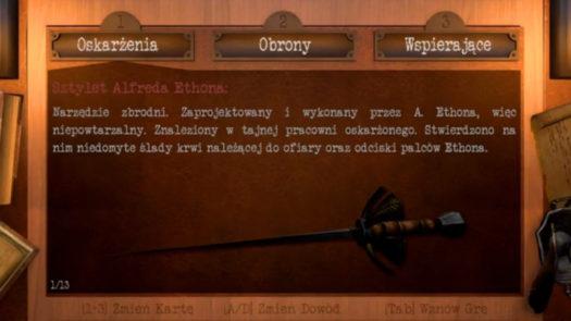 Oskarżenia, obrony i wspierające w grze Bohemian Killing