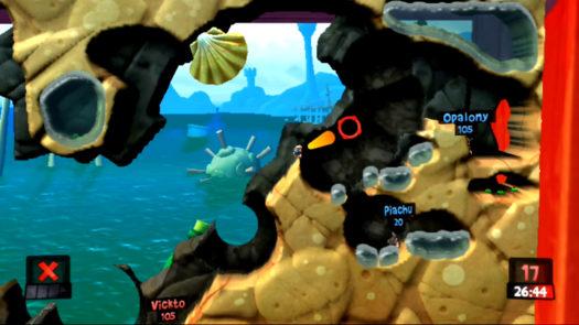Pozycja i kąt do wrzucenia Opalonemu Bomby odłamkowej w misji Plażowi bandyci w grze Worms Revolution Extreme