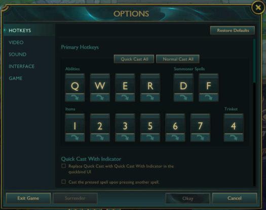 HOTKEYS w OPTIONS w grze League of Legends umożliwiające przełączanie - Smart Casty na Normal Casty i odwrotnie