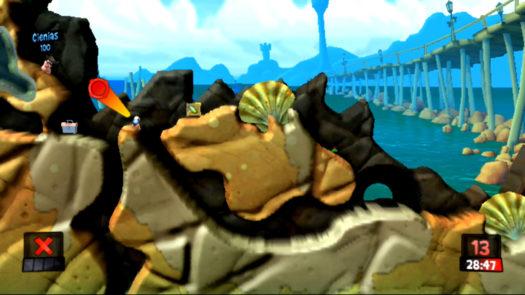 Pozycja i kąt do rzutu Bombą wodną w Cieniasa w misji Życie to nie tylko plaża w grze Worms Revolution Extreme