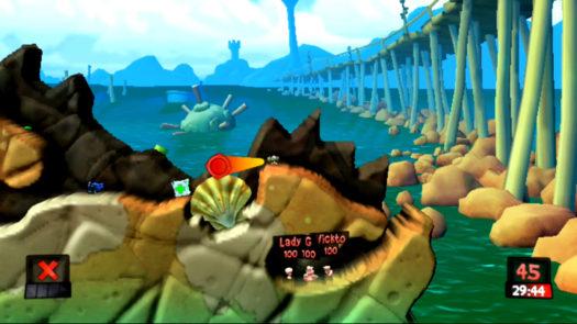 Pozycja i kąt do strzału z Bazooki w działko strażnicze w misji Życie to nie tylko plaża w grze Worms Revolution Extreme
