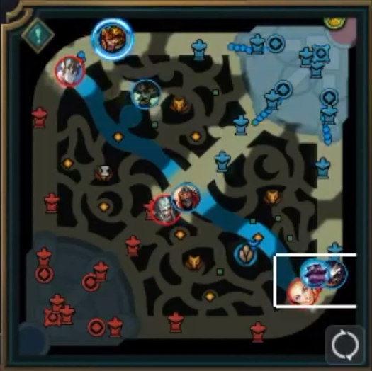 Minimapa w League of Legends pokazująca położenie 9 z 10 bohaterów