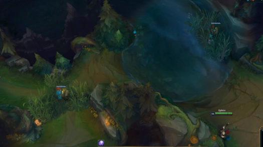 Miejsca na totemy w krzakach od strony rzeki w dolnej części mapy w grze League of Legends