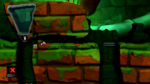 Odpowiedni kąt do zebrania ostatniej skrzynki w łamigłówce Na ratunek w grze Worms Revolution Extreme