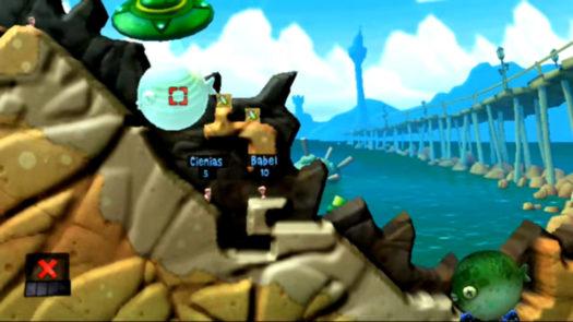 """Pozycja do umieszcenia obiektu fizycznego przemieszczanego przy pomocy UFO w łamigłówce """"Trafiony-Zatopiony"""" (ogólnie 9 łamigłówka i 4 w motywie Plaży) w grze Worms Revolution Extreme"""