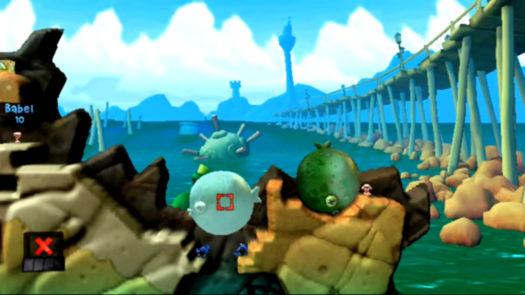 """Pozycja do umieszczenia obiektu fizycznego przemieszczanego przy pomocy Telekinezy w łamigłówce """"Trafiony-Zatopiony"""" (ogólnie 9 łamigłówka i 4 w motywie Plaży) w grze Worms Revolution Extreme"""
