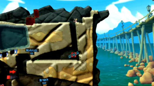 """Wymagane ustawienie Belki w łamigłówce """"Wróg czai się wszędzie"""" (ogólnie 10 łamigłówka i 5 w motywie Plaży) w grze Worms Revolution Extreme"""