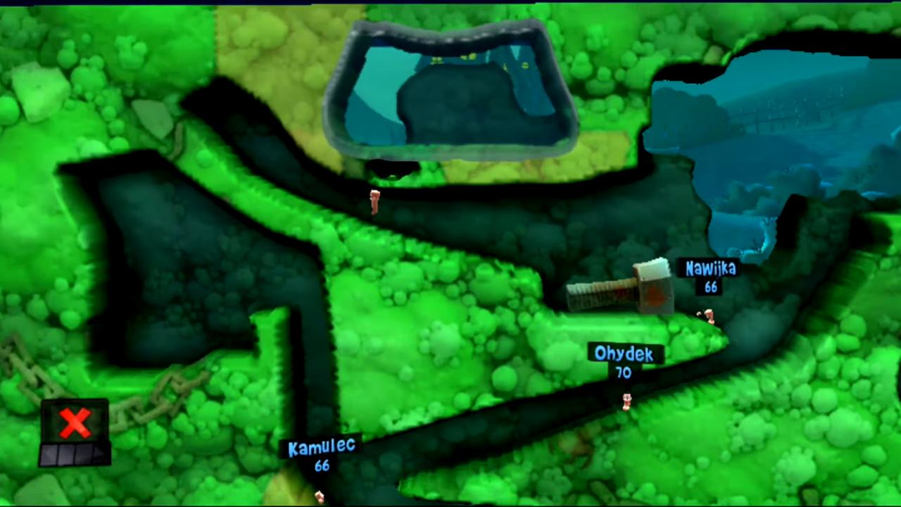 Skok pod Minę w łamigłówce Wyciąć ich równo z trawą (ogólnie 13 łamigłówka i 3 w motywie Strachu) w grze Worms Revolution Extreme