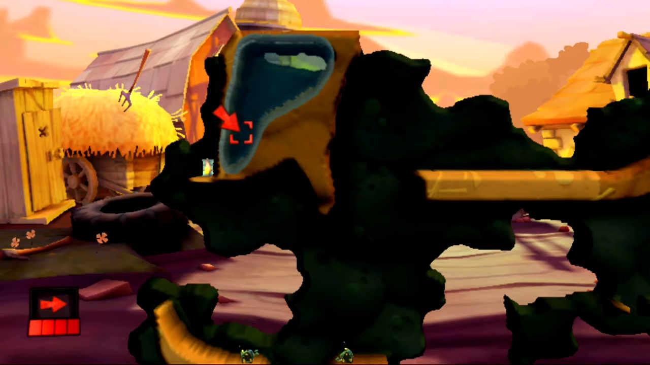 Kąt do użycia Ataku z powietrza gwarantujący ukończenie łamigłówki Samotny i niebezpieczny w grze Worms Revolution Extreme