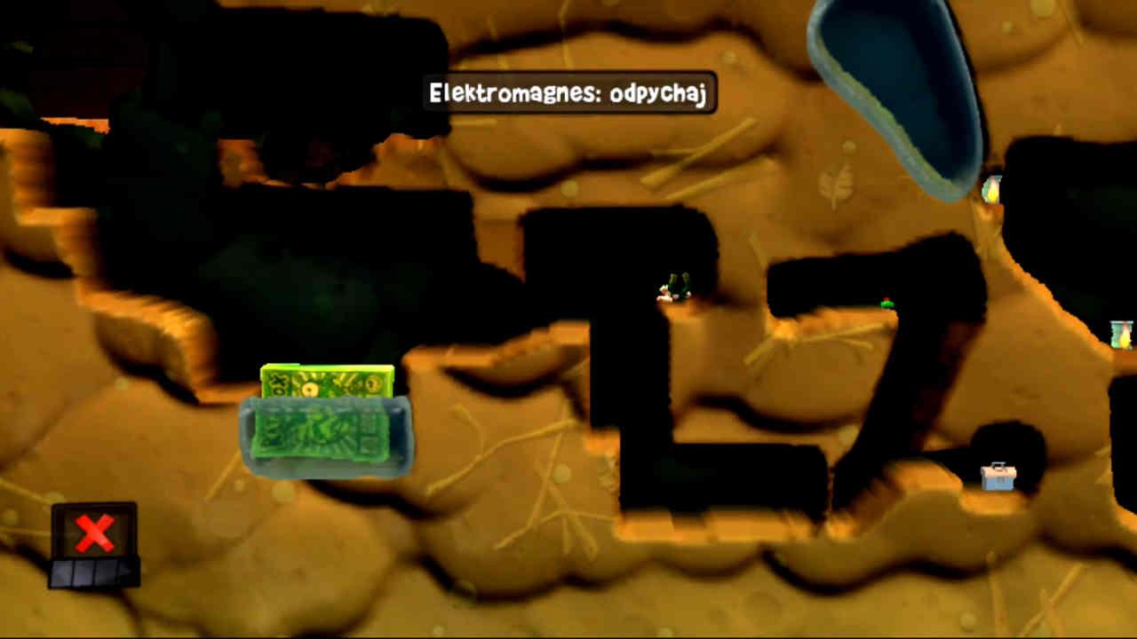 Miejsce do podłożenia Elektromagnesu w trybie odpychania w łamigłówce nr 19 (Czyj to ogród) w grze Worms Revolution Extreme