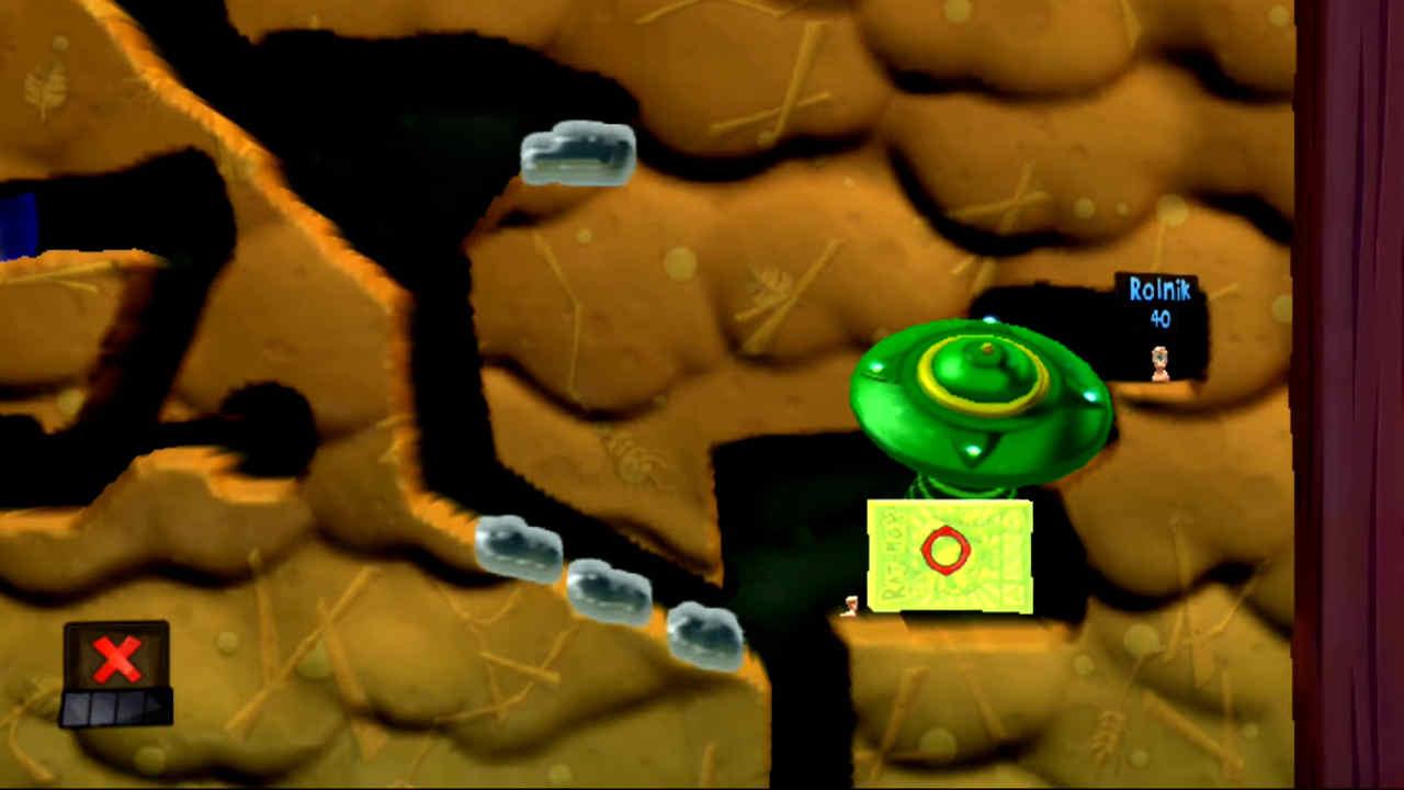 Ustawienie obiektu fizycznego w celu wykorzystania go jako platformy w łamigłówce numer 19 (Czyj to ogród) w grze Worms Revolution Extreme