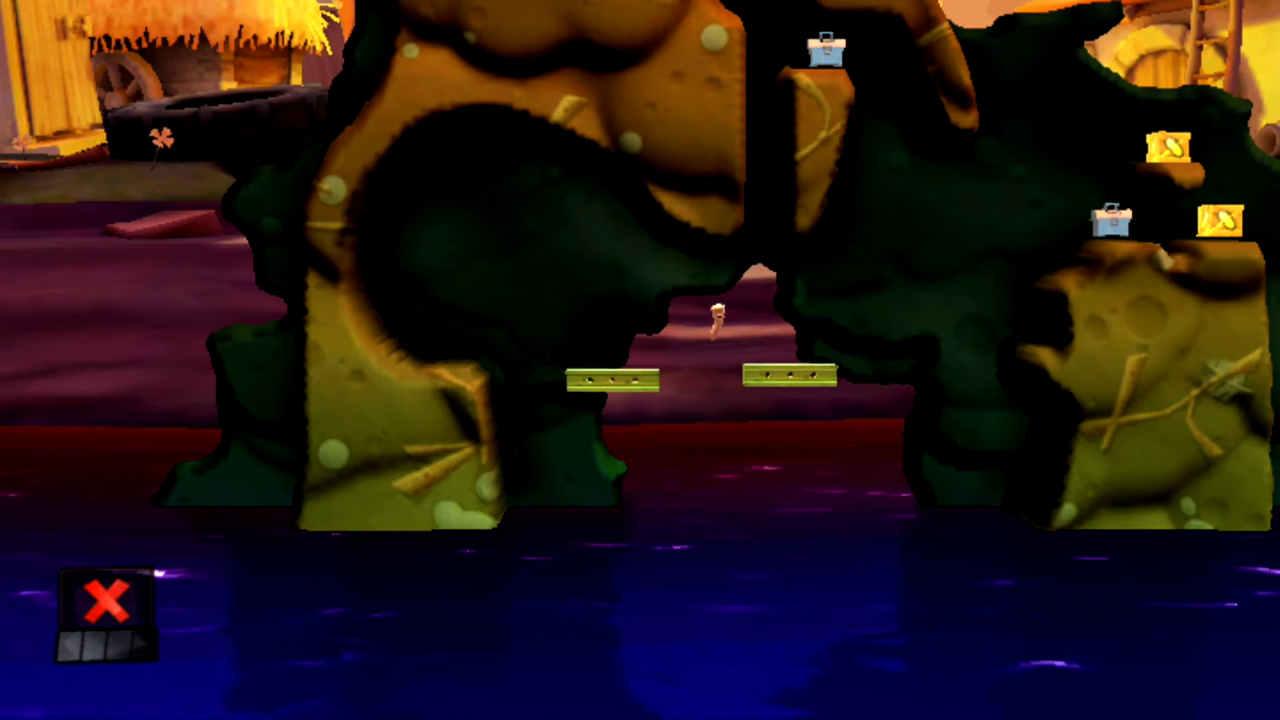 Odpowiednie rozstawienie początkowe belek w łamigłówce nr 5 motywu Podwórko (Czas wykopków) w grze Worms Revolution Extreme